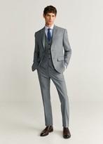 MANGO MAN - Slim fit microstructure Tailored waistcoat grey - 36 - Men