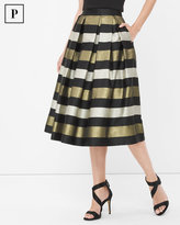 White House Black Market Petite Stripe Pleated Taffeta Midi Skirt