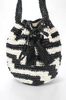 J.Crew J Crew Black White Striped Woven Material Tie Closure Medium Shoulder Handbag