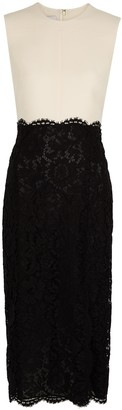Valentino Monochrome lace and wool-blend midi dress