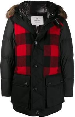 Woolrich Buffalo check parka coat