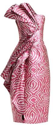 Halpern Zebra Lame Strapless Midi Dress - Womens - Pink Multi
