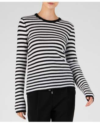 ATM Anthony Thomas Melillo Striped Cashmere Long Sleeve Crew Neck Sweater - Black/ Chalk Stripe