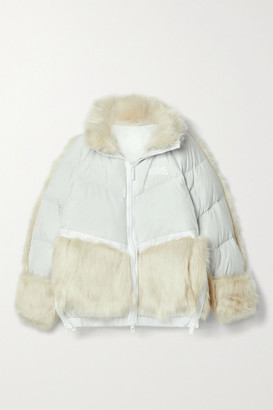 Nike + Sacai Nrg Oversized Hooded Faux Fur And Quilted Shell Down Jacket - Light gray