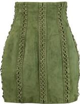 Balmain Lace-up suede mini skirt