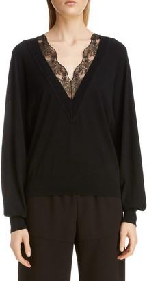 Chloé Lace Trim Wool & Silk Sweater
