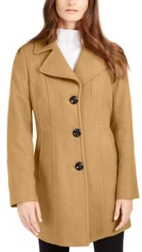 Anne Klein Petite Single-Breasted Walker Coat