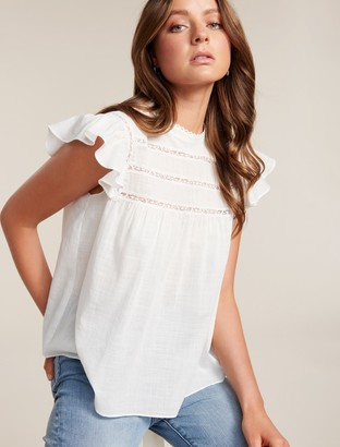 Forever New Bianca Frill Sleeve Top - Porcelain - 14