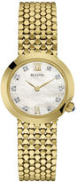 Bulova Diamonds Womens Diamond-Accent Gold-Tone Stainless Steel Mesh Watch 97P114