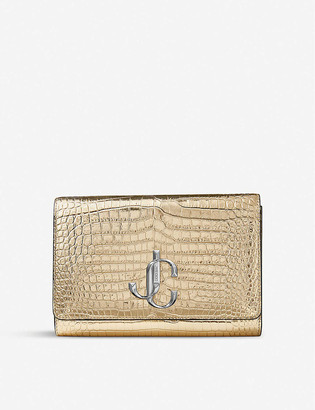 Jimmy Choo Varenne metallic croc-embossed leather clutch