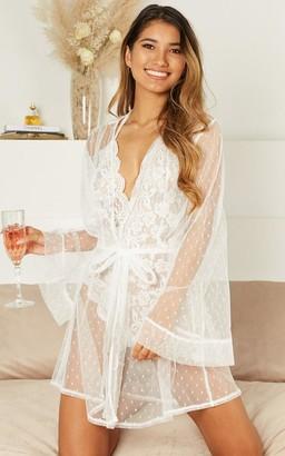 Showpo Feeling Love Bride Robe in white mesh - 4 (XXS) Robes