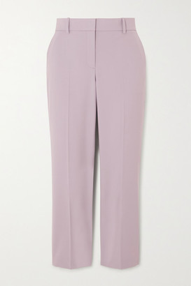 Theory Cropped Wool-blend Slim-fit Pants - Lilac