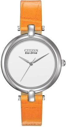 Citizen Women's Eco-Drive Silhouette Quartz Orange Leather Strap Watch, 34mm