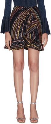 Self-Portrait Stripe sequin embellished flare hem mini skirt