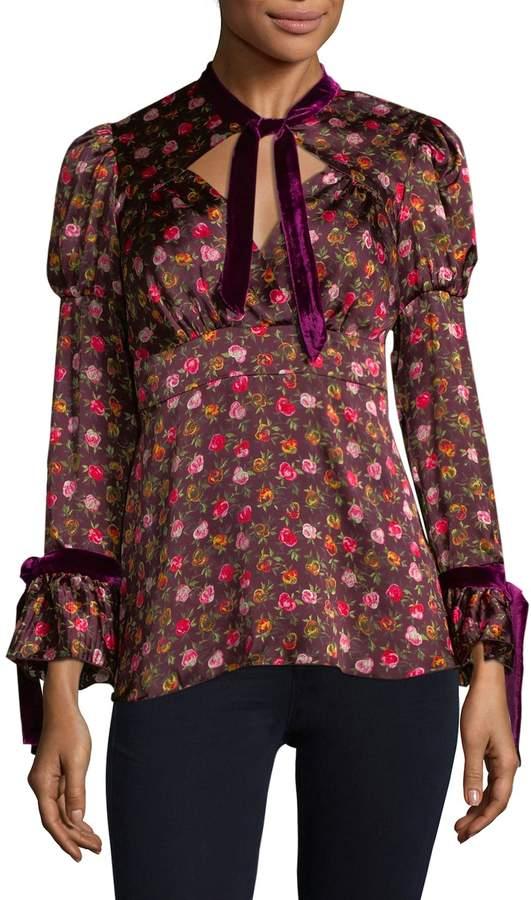 Anna Sui Women's Floral Straps Silk Blouse