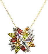 Townsend Victoria 18k Gold over Sterling Silver Necklace, Multistone and Diamond Accent Cluster Pendant