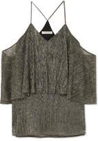 Halston Cold-shoulder Textured-lamé Top - Gold