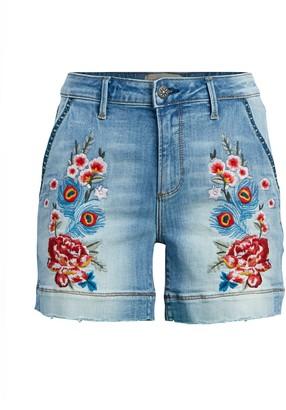 Driftwood Embroidered Denim Shorts