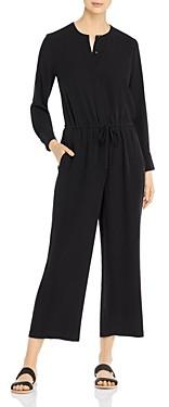Eileen Fisher Silk Drawstring-Waist Cropped Jumpsuit