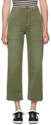 Amo Khaki Wide-Leg Army Trousers