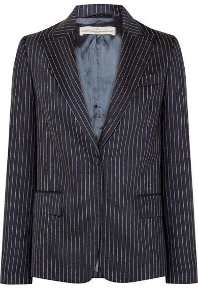 Golden Goose Venice Pinstriped Wool And Silk-blend Blazer - Navy