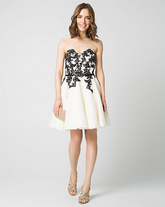 Le Château Embellished Lace Strapless Party Dress