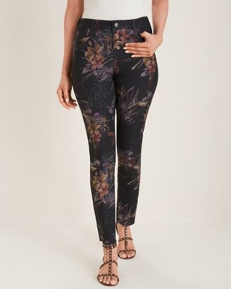 So Slimming Black Floral Girlfriend Ankle Jeans