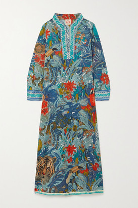 Le Sirenuse Positano Giada Printed Cotton Midi Dress - Blue