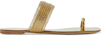 Casadei Bead-embellished Metallic Textured-leather Sandals