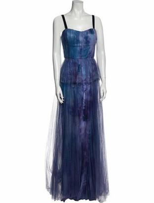 Marchesa Lace Pattern Long Dress Purple