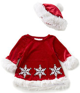 Bonnie Jean Bonnie Baby Baby Girls Newborn-24 Months Christmas Faux-Fur Trim Santa Snowflake-Appliqued Dress