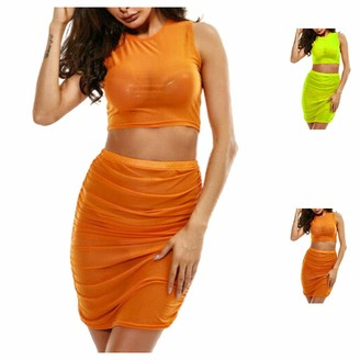Snaked Cat Women 2 Piece Set Outfit Club Wear Bodycon Crop Top and Skirt Set Bandage Sheer Dress Party (Orange M)