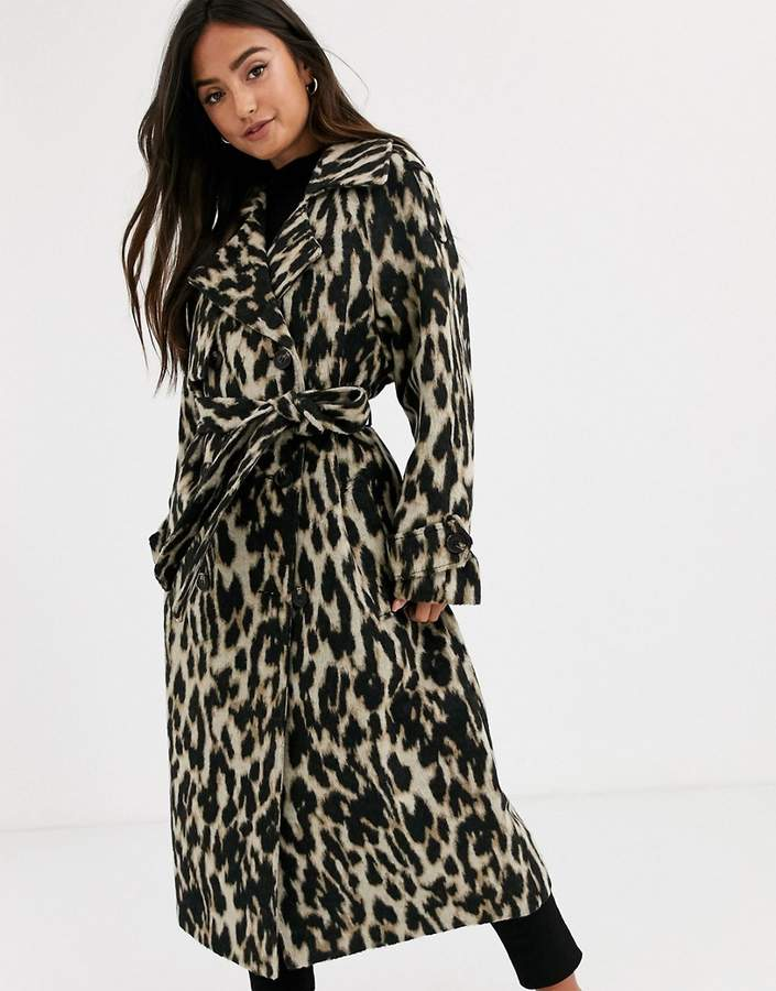 Asos Design DESIGN oversized leopard belted coat