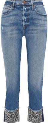 Alice + Olivia Amazing Cropped Embellished Mid-rise Straight-leg Jeans