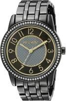 Nine West Women's NW/1745BKGN Easy To Read Swarovski Crystal Accented Gunmetal Bracelet Watch