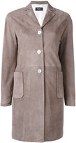 Kiton single breasted leather coat - women - Lamb Skin - 42
