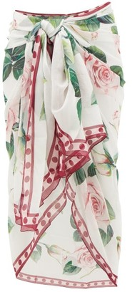 Dolce & Gabbana Rose-print Silk-crepe Sarong - Womens - White Print
