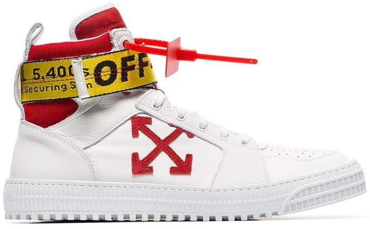 Off-White red and white hi top belted sneakers