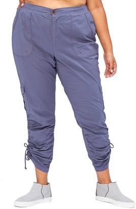XCVI Florance Ruched Tie Poplin Cargo Pants (Plus Size)