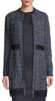 Elie Tahari Kora Long Tweed Hook-Front Jacket