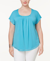 NY Collection Plus Size Flutter-Sleeve Studded Top