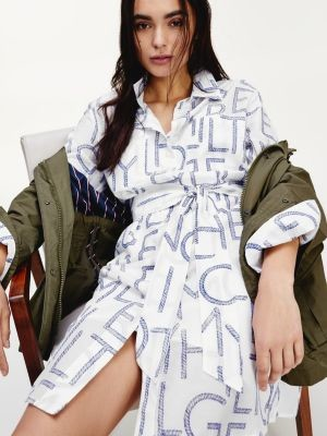 Tommy Hilfiger Silk Rope Print Shirt Dress
