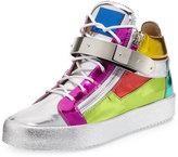 Giuseppe Zanotti Multicolored Metallic Mid-Top Leather Sneaker, Multi