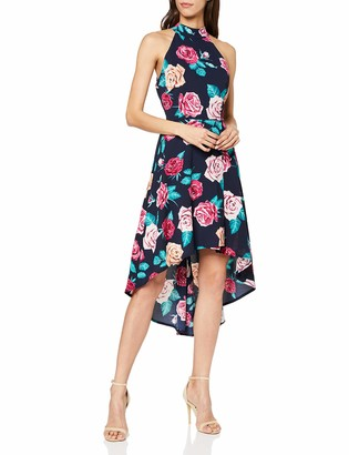 Yumi Women's Rose Print Neck High Low Dress Casual