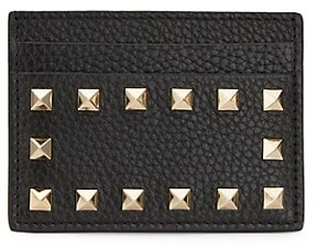 Valentino Rockstud Leather Card Holder