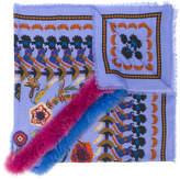 Etro furry trim printed scarf