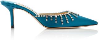 Jimmy Choo Exclusive Tatie Crystal-Embellished Satin Mules
