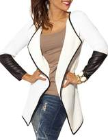 Fanvans Women's Mosaic Long Sleeve Leather Cardigan Jacket L