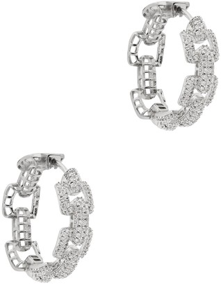 Fallon Pave Crystal-embellished Silver-tone Hoop Earrings