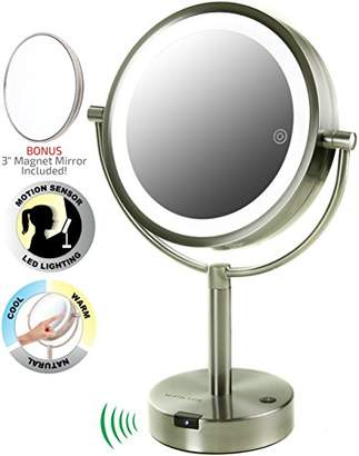 Ovente Motion Sensored Tabletop Makeup Mirror 8.5 Inch with 1X 5X Magnification and Three LED Light Tones (MPTS8385BR1X5X)